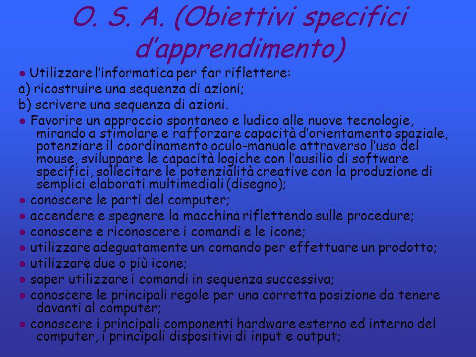 O. S. A. (Obiettivi specifici d'apprendimento)
