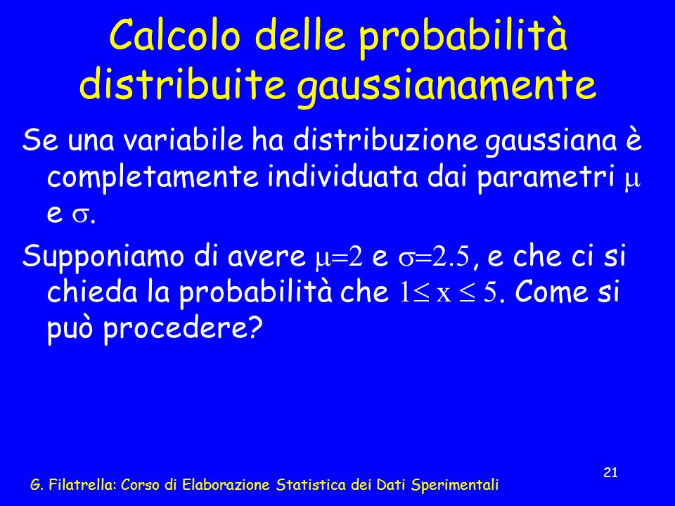 Calcolo delle probabilità distribuite gaussianamente