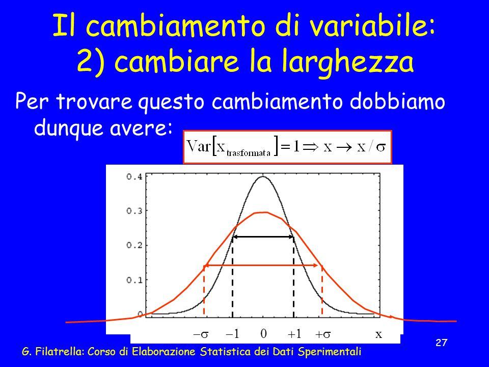 Il cambiamento di variabile: 2) cambiare la larghezza