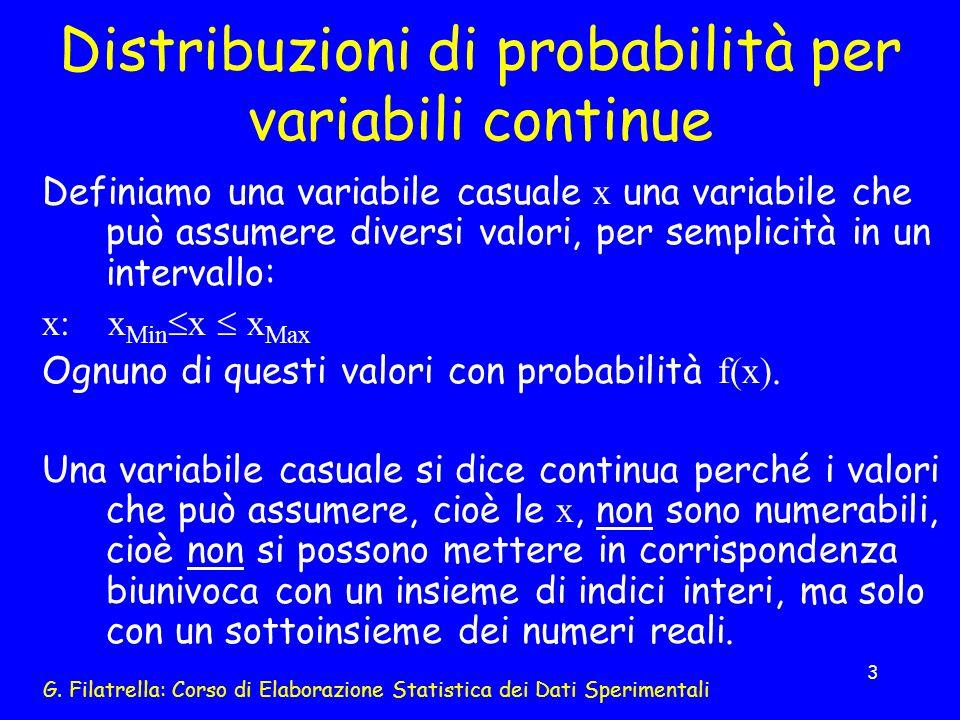 Distribuzioni di probabilità per variabili continue