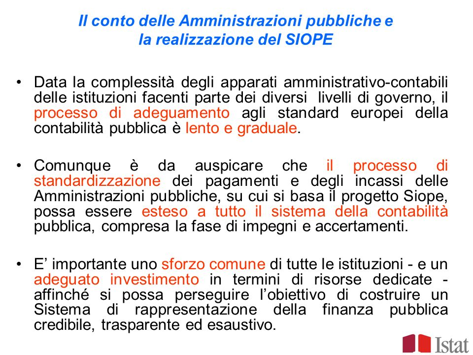 Il conto delle Amministrazioni pubbliche e la realizzazione del SIOPE