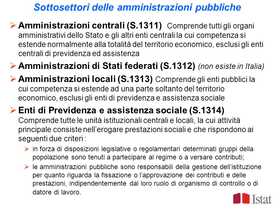 Sottosettori delle amministrazioni pubbliche