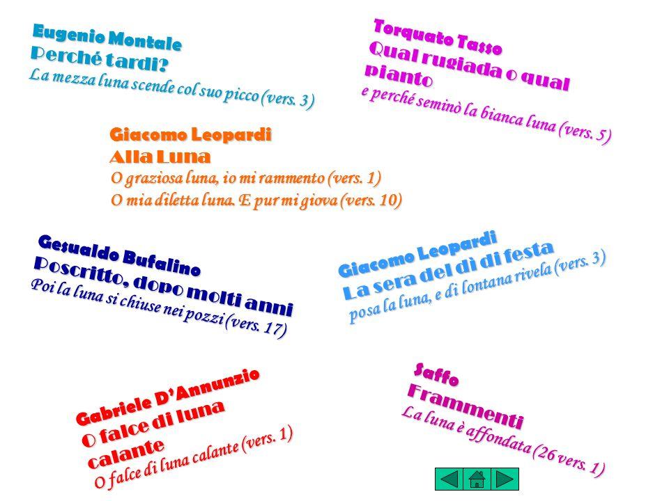 Eugenio Montale Perché tardi La mezza luna scende col suo picco (vers. 3) Torquato Tasso. Qual rugiada o qual pianto.