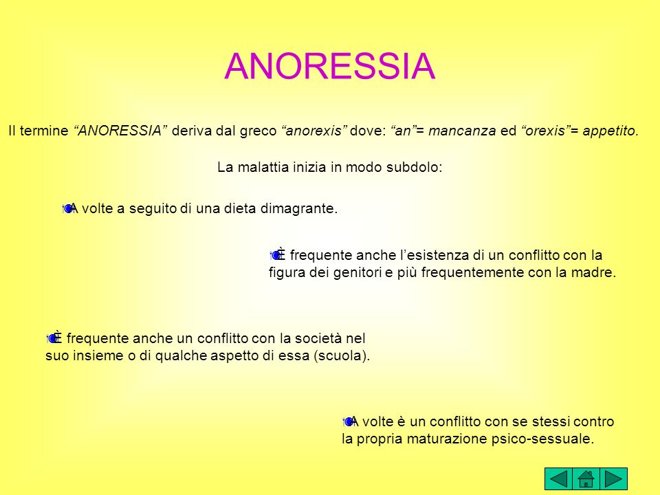 ANORESSIA Il termine ANORESSIA deriva dal greco anorexis dove: an = mancanza ed orexis = appetito.