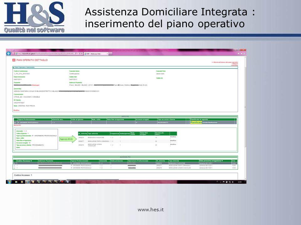 Assistenza Domiciliare Integrata : inserimento del piano operativo