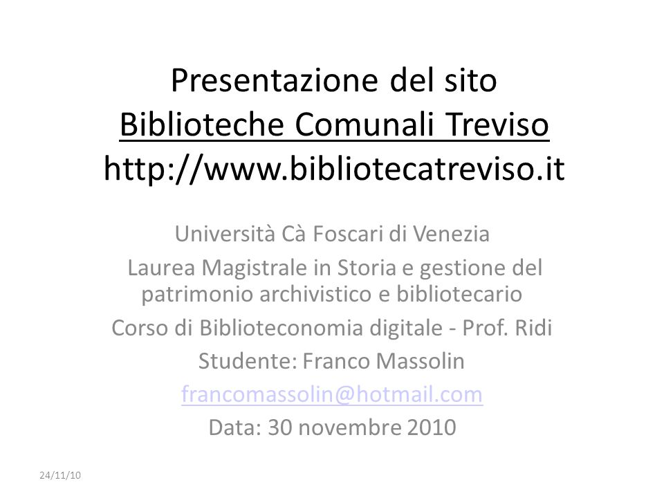 Presentazione del sito Biblioteche Comunali Treviso