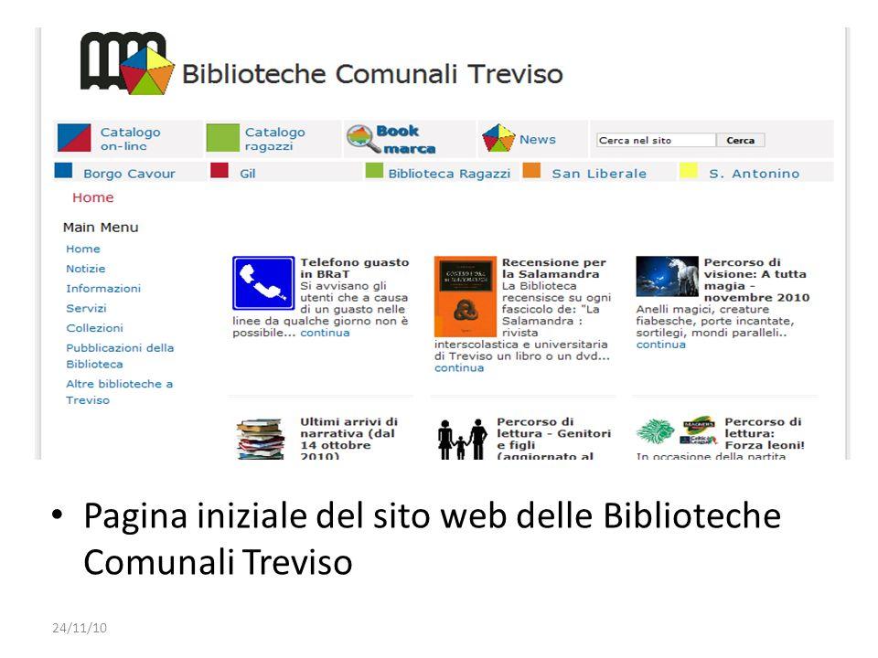 Pagina iniziale del sito web delle Biblioteche Comunali Treviso