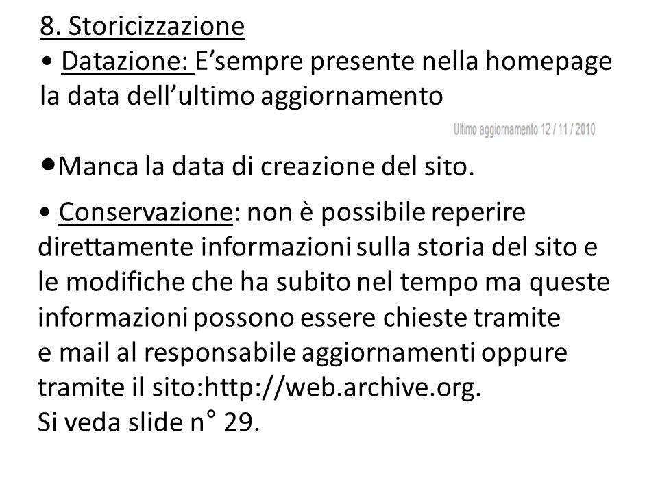 ●Manca la data di creazione del sito.