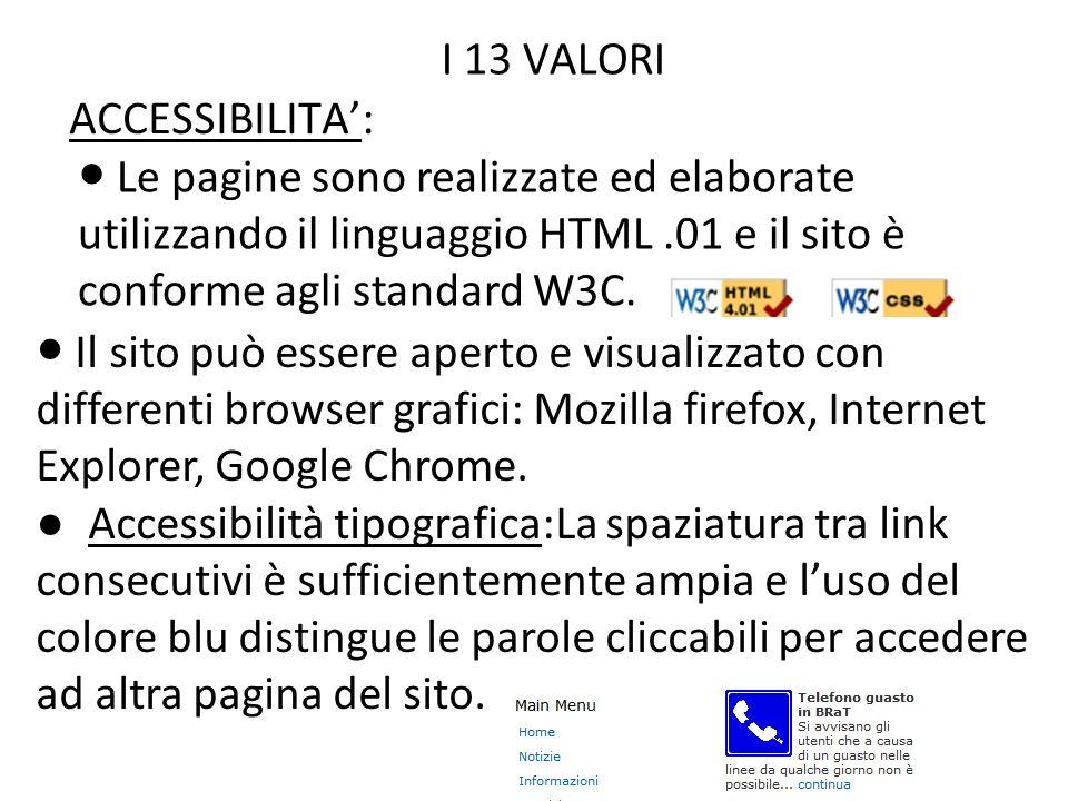 I 13 VALORI Accessibilita':