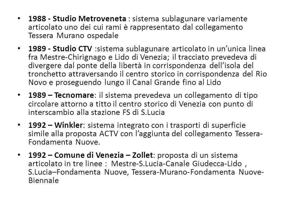 1988 - Studio Metroveneta : sistema sublagunare variamente articolato uno dei cui rami è rappresentato dal collegamento Tessera Murano ospedale