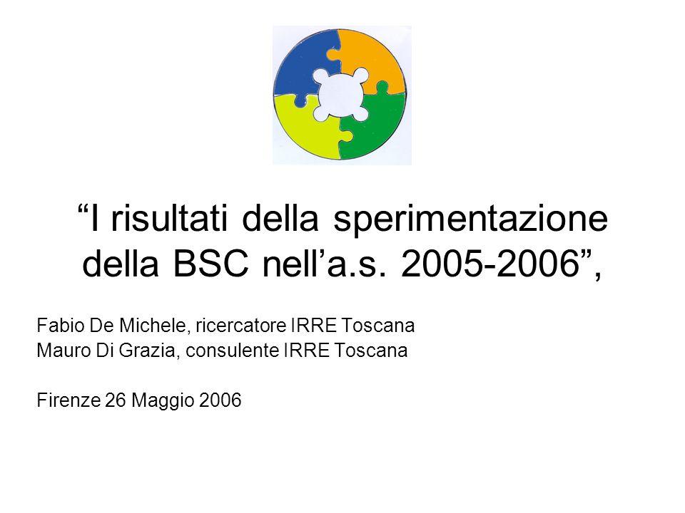 I risultati della sperimentazione della BSC nell'a.s. 2005-2006 ,