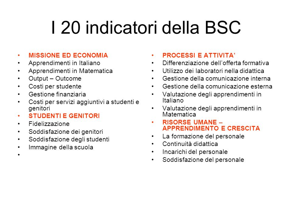I 20 indicatori della BSC MISSIONE ED ECONOMIA