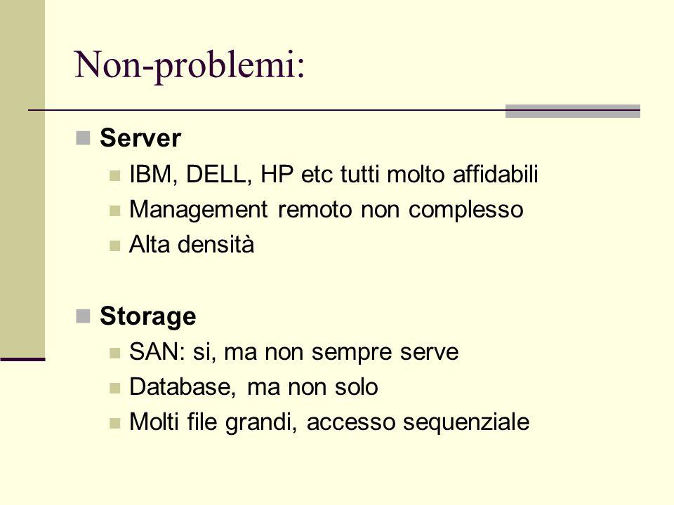 Non-problemi: Server Storage IBM, DELL, HP etc tutti molto affidabili