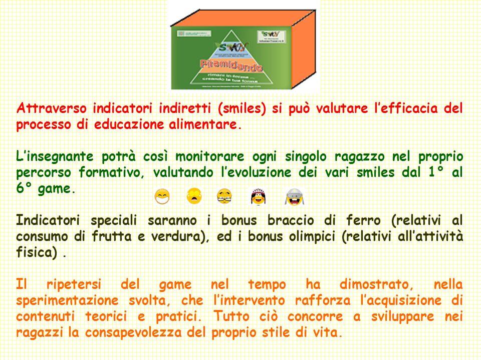 Attraverso indicatori indiretti (smiles) si può valutare l'efficacia del processo di educazione alimentare.