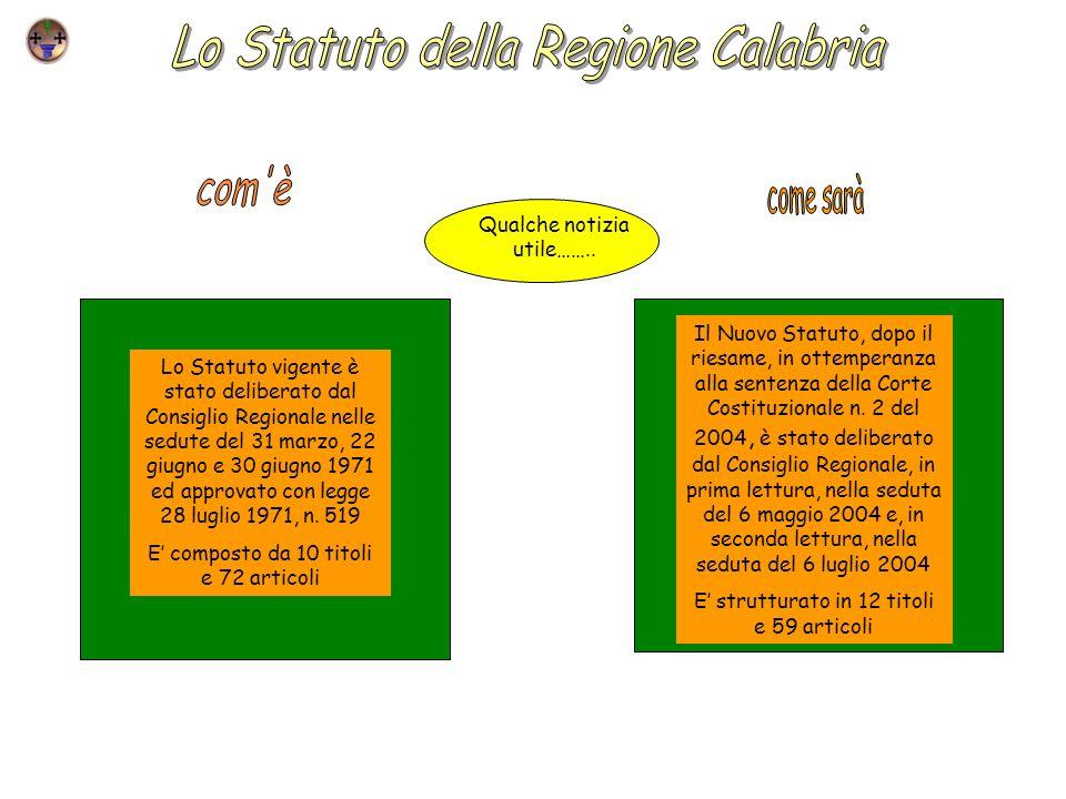Lo Statuto della Regione Calabria