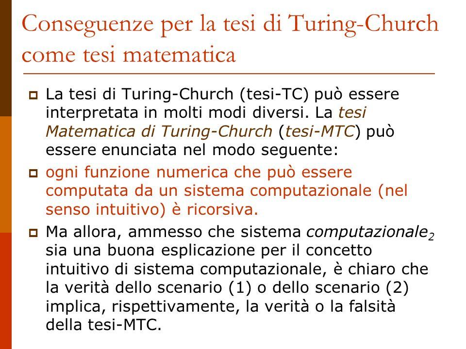 Conseguenze per la tesi di Turing-Church come tesi matematica