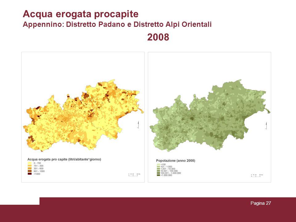Acqua erogata procapite Appennino: Distretto Padano e Distretto Alpi Orientali