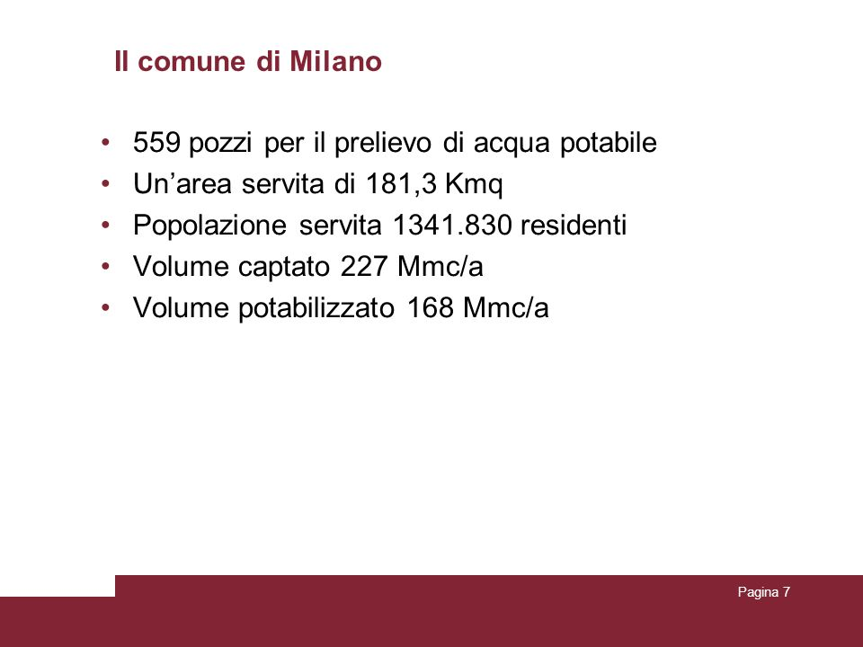 Il comune di Milano 559 pozzi per il prelievo di acqua potabile. Un'area servita di 181,3 Kmq. Popolazione servita 1341.830 residenti.