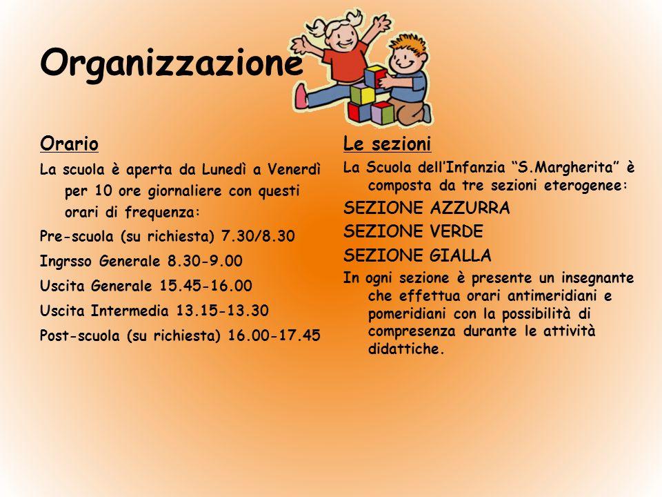Organizzazione Orario Le sezioni SEZIONE AZZURRA SEZIONE VERDE