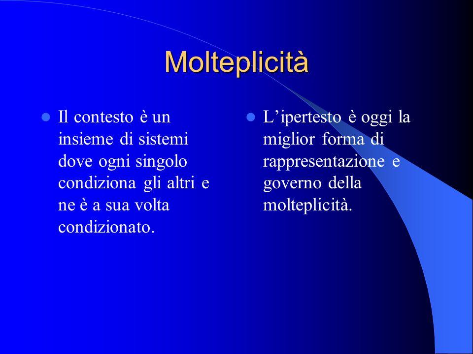 MolteplicitàIl contesto è un insieme di sistemi dove ogni singolo condiziona gli altri e ne è a sua volta condizionato.