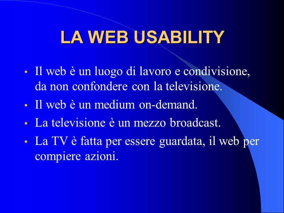 LA WEB USABILITYIl web è un luogo di lavoro e condivisione, da non confondere con la televisione. Il web è un medium on-demand.