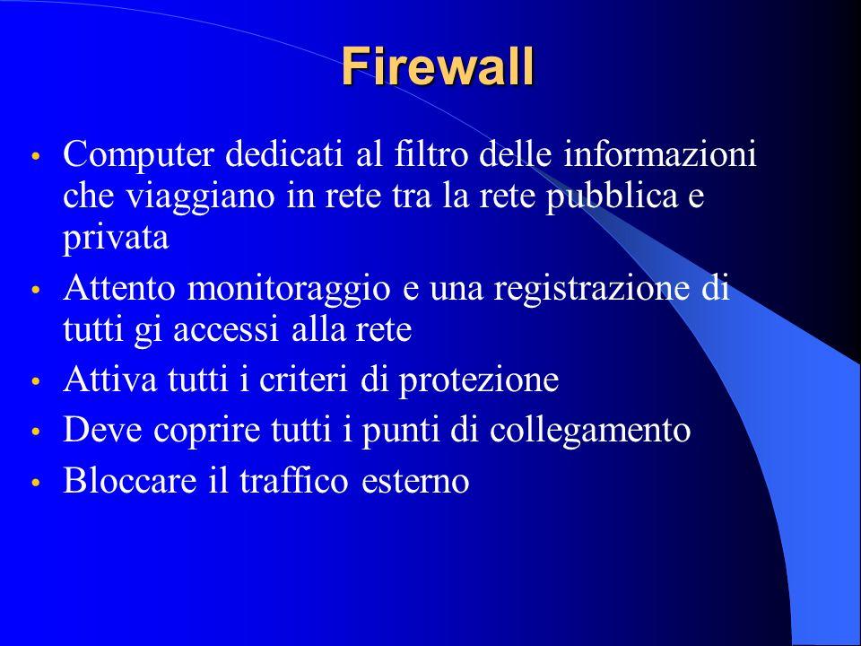 FirewallComputer dedicati al filtro delle informazioni che viaggiano in rete tra la rete pubblica e privata.