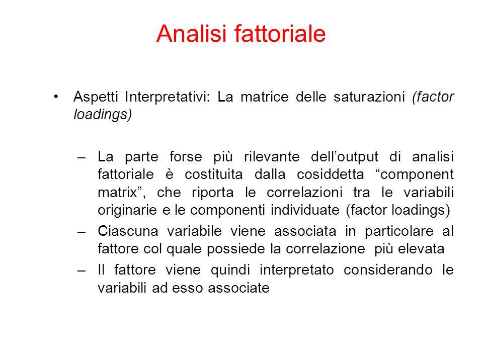 Analisi fattoriale Aspetti Interpretativi: La matrice delle saturazioni (factor loadings)
