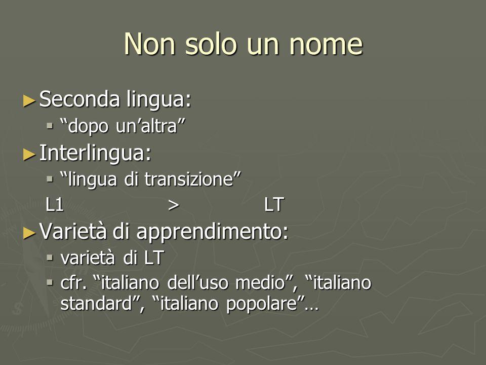 Non solo un nome Seconda lingua: Interlingua: