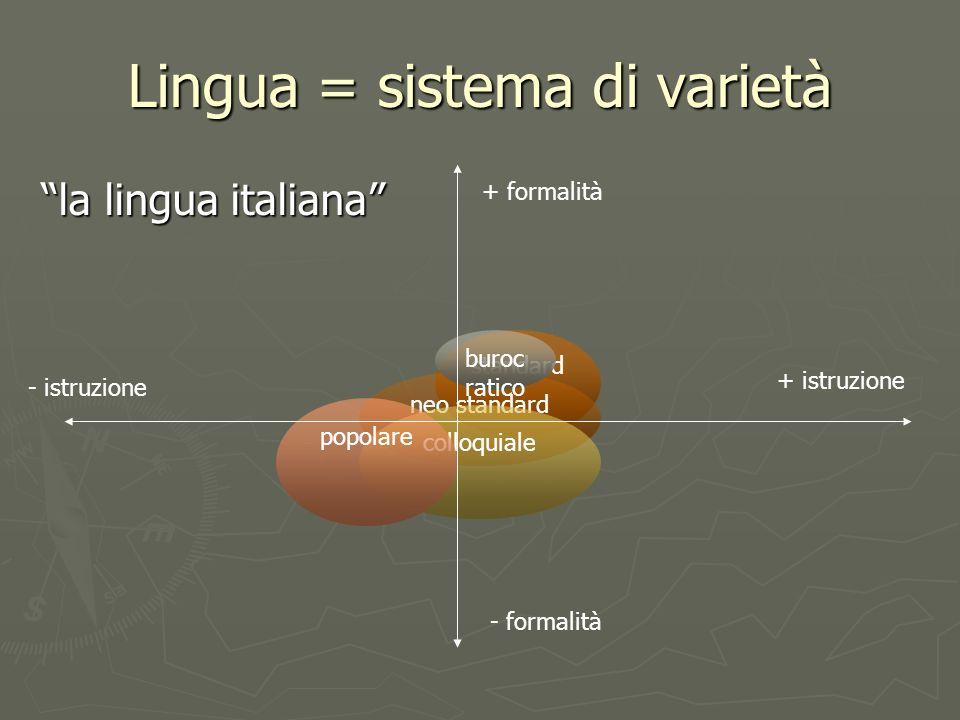 Lingua = sistema di varietà