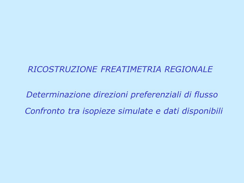 RICOSTRUZIONE FREATIMETRIA REGIONALE