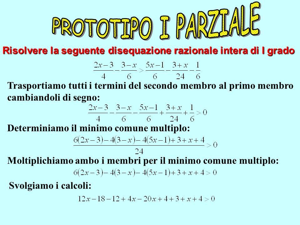 Risolvere la seguente disequazione razionale intera di I grado