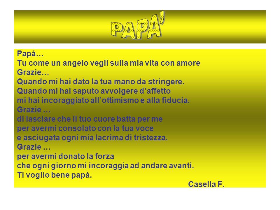 PAPA' Papà… Tu come un angelo vegli sulla mia vita con amore Grazie…