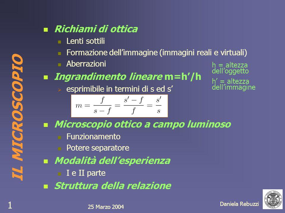 IL MICROSCOPIO Richiami di ottica Ingrandimento lineare m=h'/h