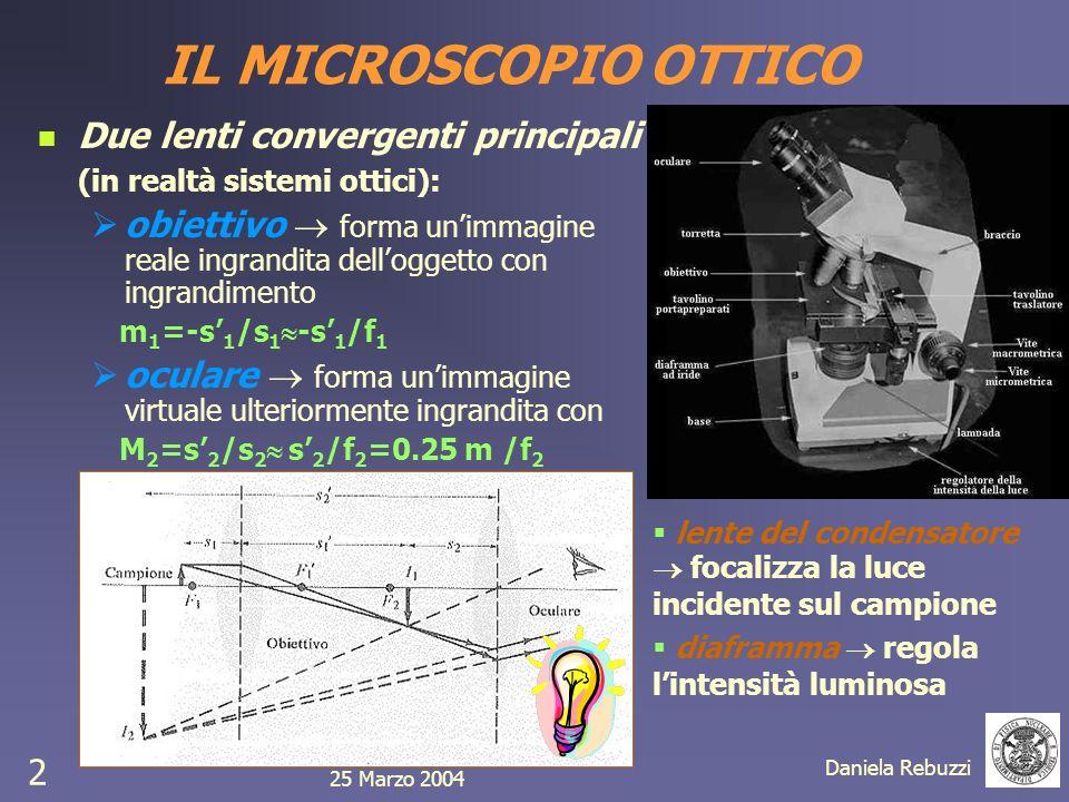 IL MICROSCOPIO OTTICO Due lenti convergenti principali