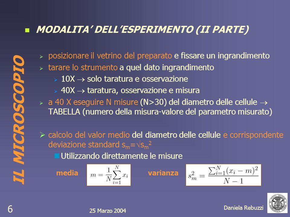 IL MICROSCOPIO MODALITA' DELL'ESPERIMENTO (II PARTE)