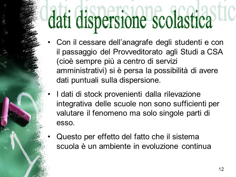 dati dispersione scolastica