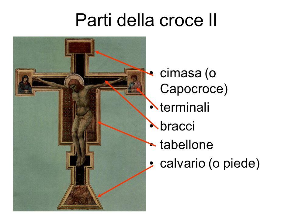 Parti della croce II cimasa (o Capocroce) terminali bracci tabellone