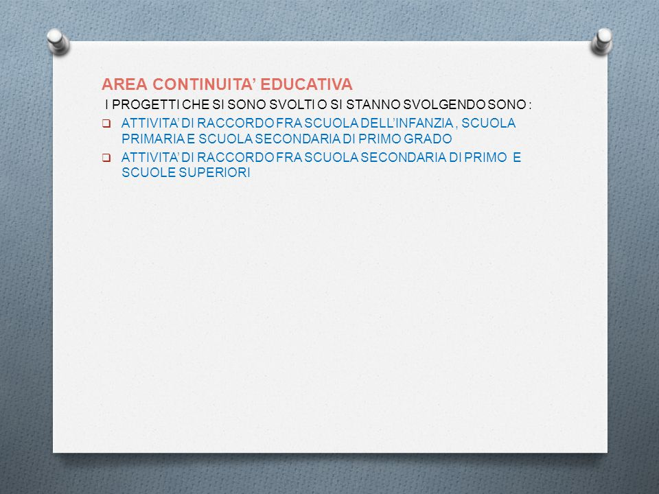 AREA CONTINUITA' EDUCATIVA