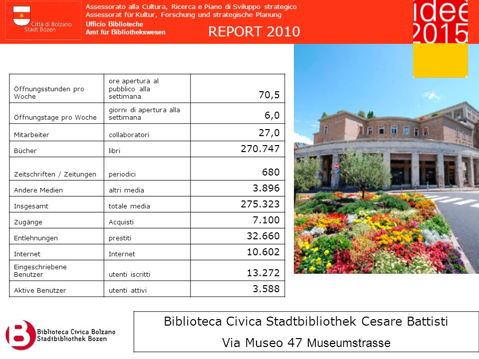 REPORT 2010 Biblioteca Civica Stadtbibliothek Cesare Battisti