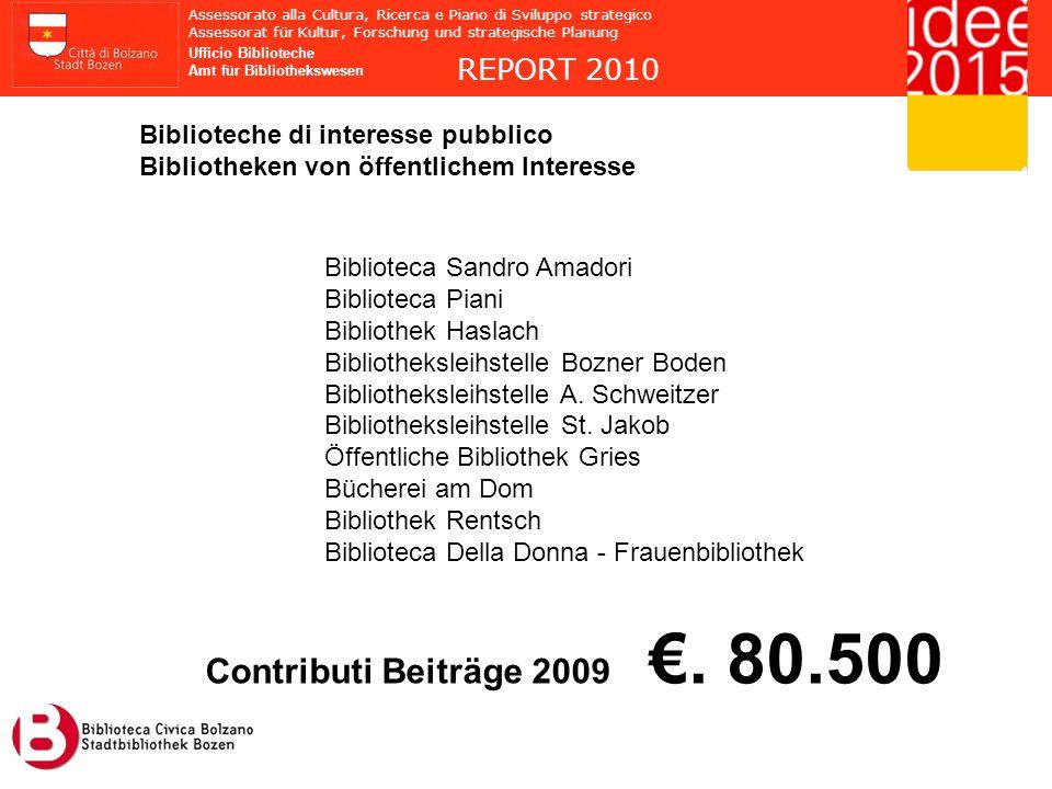 Contributi Beiträge 2009 €. 80.500 REPORT 2010