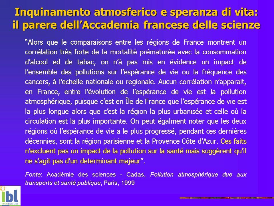 Inquinamento atmosferico e speranza di vita: il parere dell'Accademia francese delle scienze