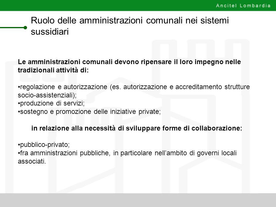 Ruolo delle amministrazioni comunali nei sistemi sussidiari