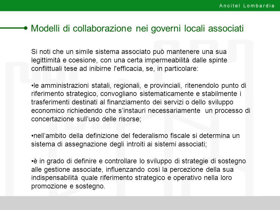 Modelli di collaborazione nei governi locali associati