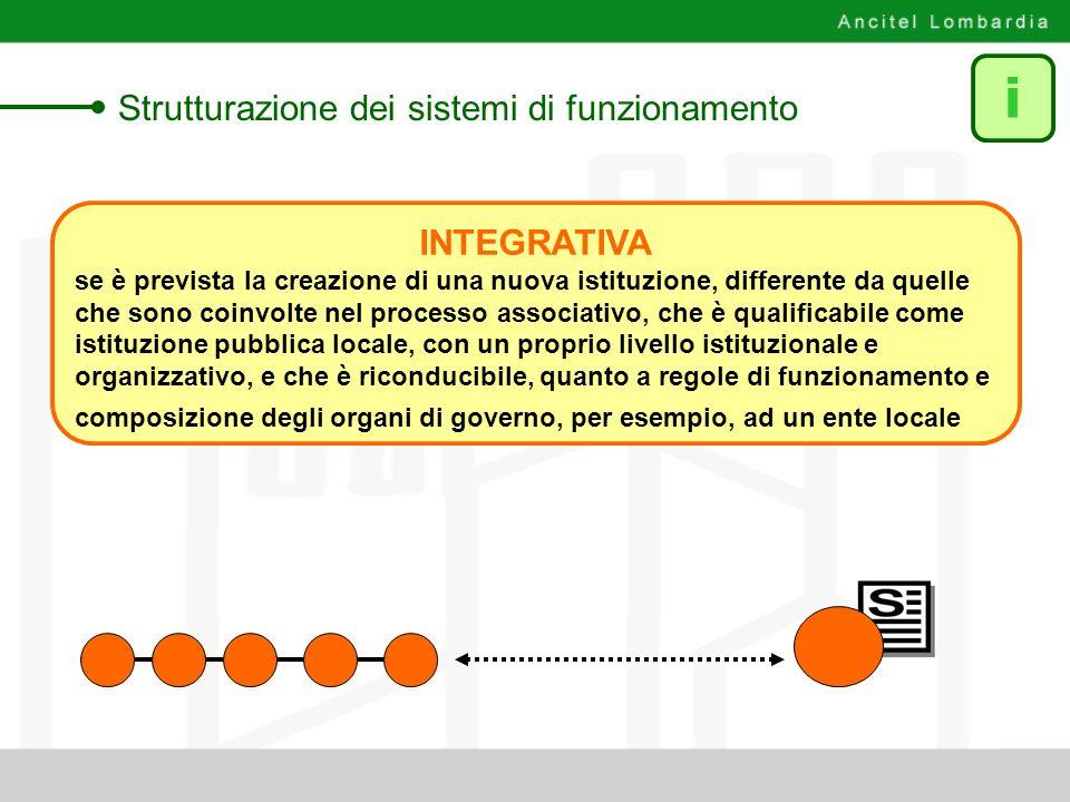 i Strutturazione dei sistemi di funzionamento INTEGRATIVA