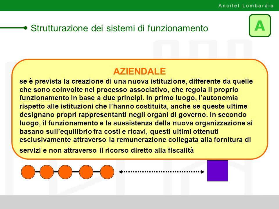 A Strutturazione dei sistemi di funzionamento AZIENDALE