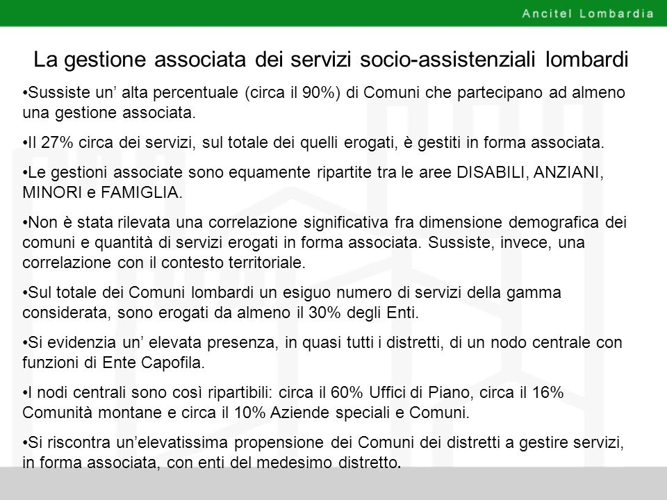 La gestione associata dei servizi socio-assistenziali lombardi