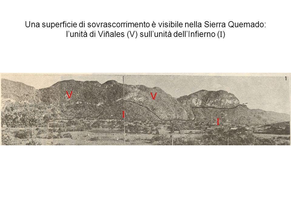 Una superficie di sovrascorrimento è visibile nella Sierra Quemado: l'unità di Viñales (V) sull'unità dell'Infierno (I)