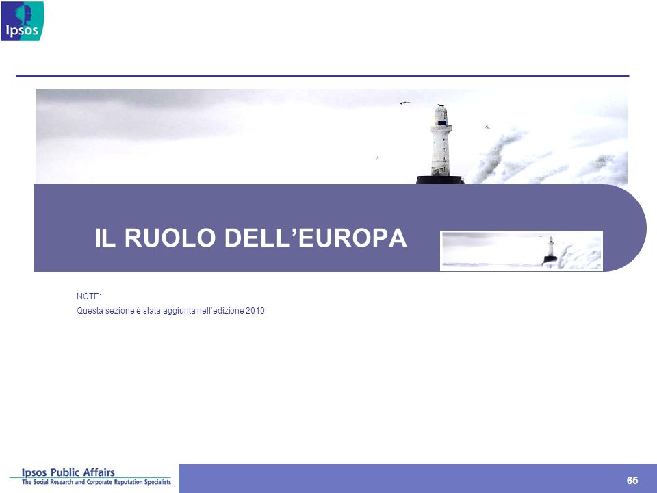 IL RUOLO DELL'EUROPA NOTE: