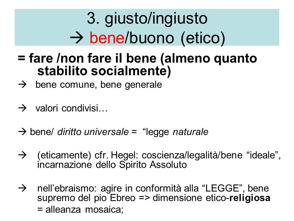 3. giusto/ingiusto  bene/buono (etico)