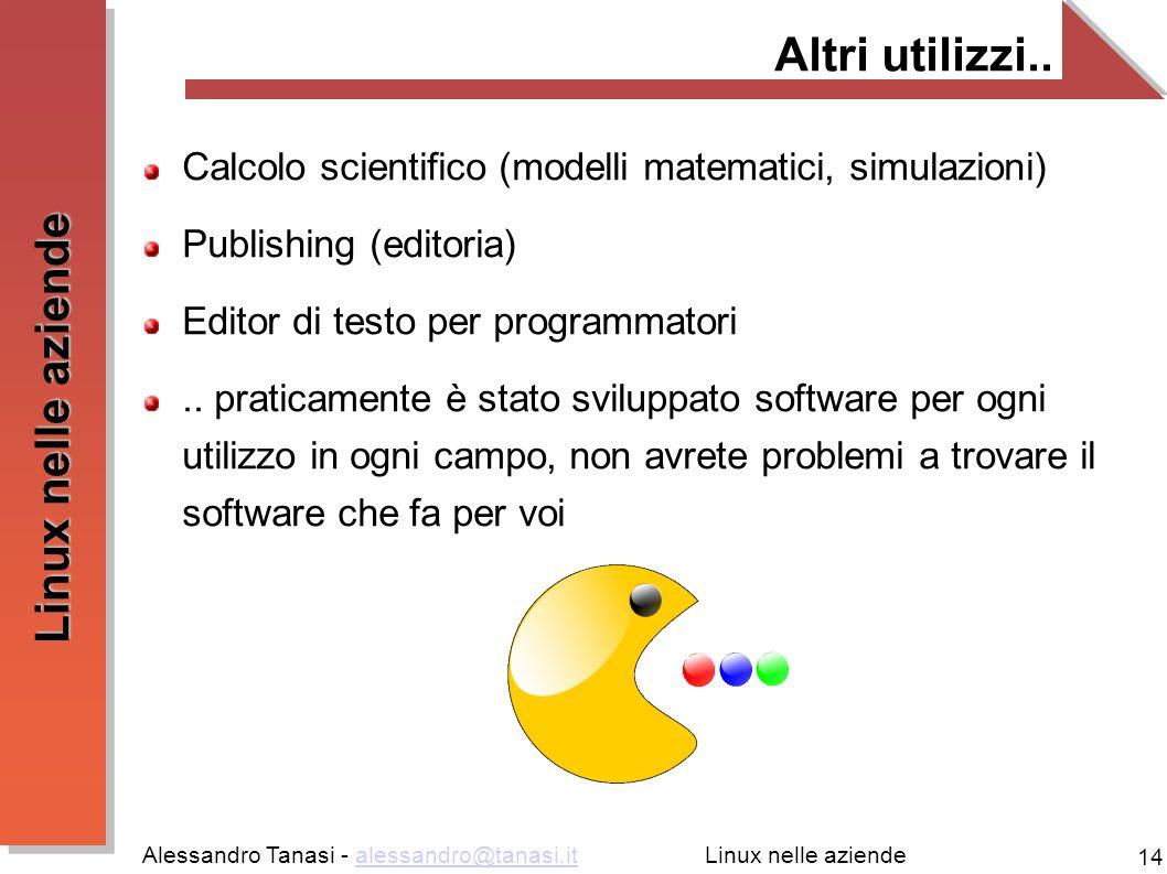 Altri utilizzi.. Calcolo scientifico (modelli matematici, simulazioni) Publishing (editoria) Editor di testo per programmatori.